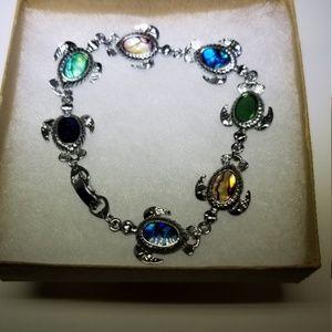 Silver Sea Turtle Clasp Bracelet #70